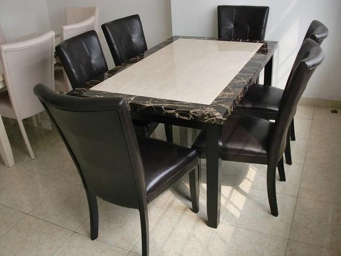 So sánh bàn ăn đá hoa cương và bàn ăn đá cẩm thạch