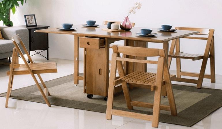 Căn bếp đẳng cấp với bàn ăn thông minh gỗ tự nhiên-3