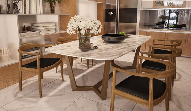 Bàn ăn mặt đá 4 ghế: lựa chọn đa tiện ích cho nhà bếp hiện đại