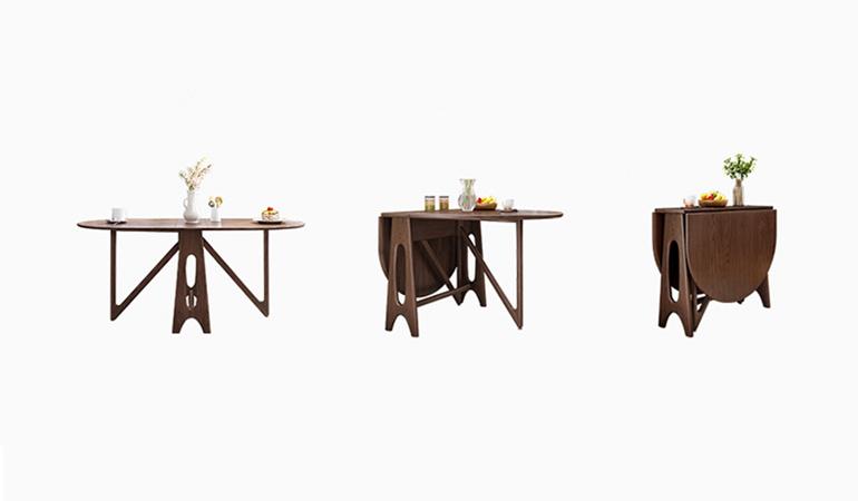 Căn bếp đẳng cấp với bàn ăn thông minh gỗ tự nhiên-001