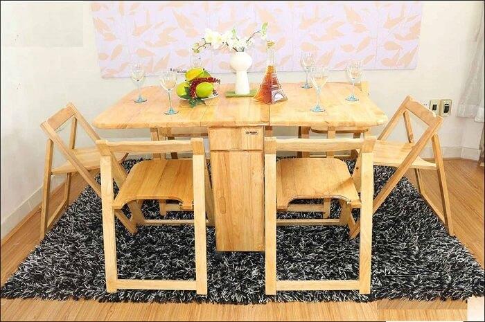 Căn bếp đẳng cấp với bàn ăn thông minh gỗ tự nhiên-2