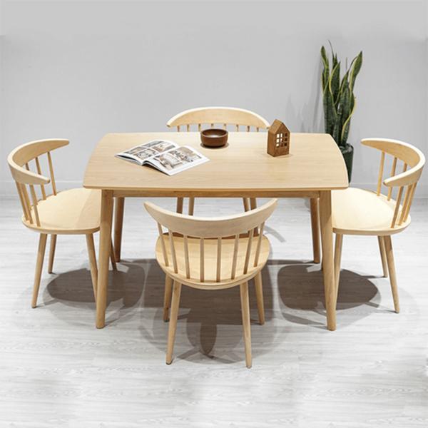 Mẫu bàn ghế ăn gỗ cao su đắt khách nhất hiện nay-1