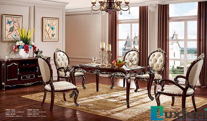 Bàn ăn G8809X - mẫu bàn ăn gỗ tự nhiên cao cấp phong cách tân cổ điển