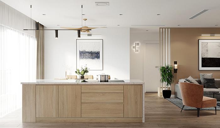 Tủ bếp phủ Acrylic hình chữ I TB001