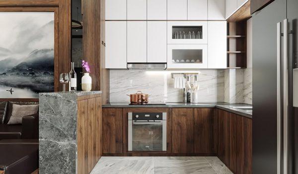 Tủ bếp gỗ MDF phủ Acrylic TB006