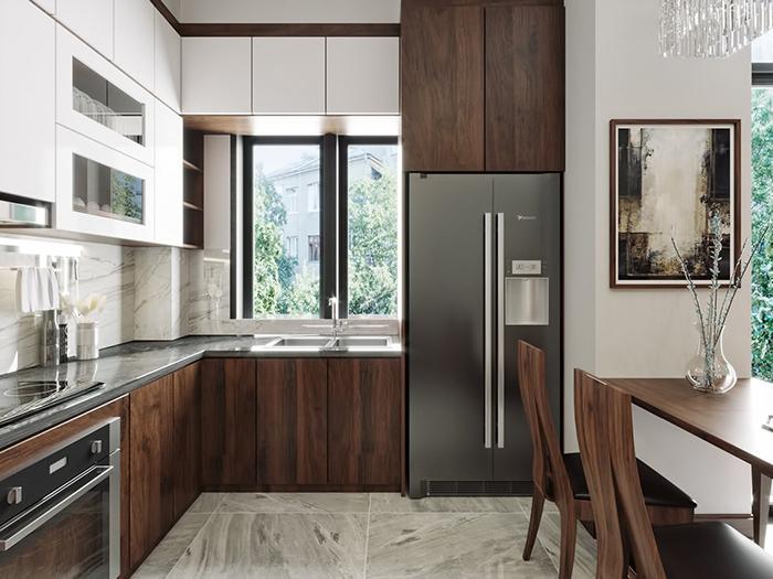 Mẫu tủ bếp MDF TB006 cao cấp