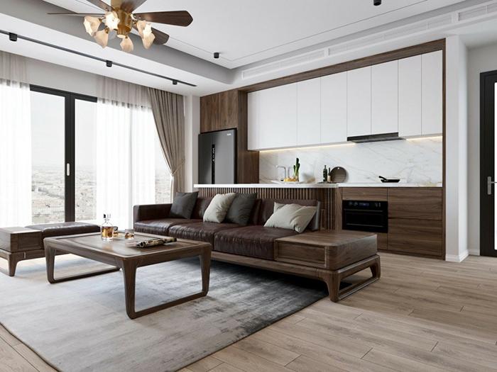 Tủ bếp gỗ phủ Acrylic cao cấp TB005