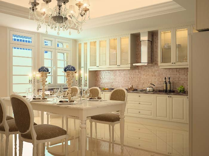 Trang trí nội thất nhà bếp theo phong cách tân cổ điển
