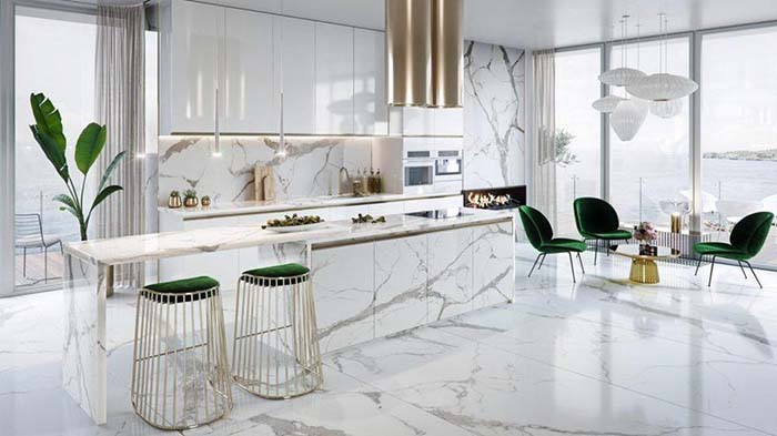 Phòng bếp kích thước lớn có thể chọn những mẫu bàn cầu kỳ